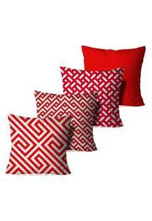 Kit 4 Capas Para Almofadas Decorativas Geométrica Vermelha E Branca 45X45Cm