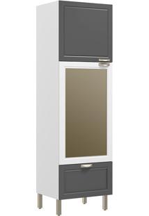 Paneleiro Com 2 Portas Vidro Reflecta E 1 Gaveta Nevada 5630Vd-Multimóveis - Branco Premium / Grafite Premium / Branco Premium
