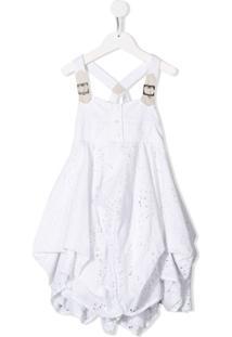 Lapin House Vestido Drapeado Com Bordado - Branco