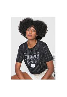 Camiseta Cropped Dimy Trust & Hope Preta