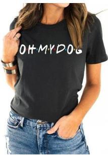 Camiseta Oh My Dog Friends Feminina - Feminino-Chumbo
