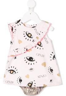 Kenzo Kids Vestido Com Babados E Estampa De Olhos - Rosa