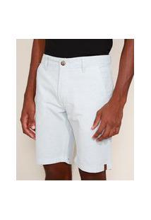 Bermuda Masculina Reta Chino Listrada Branca