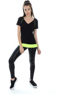 Camiseta Manga Curta Pinyx Shine Preto E Amarelo - Preto - Feminino - Dafiti