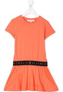 Givenchy Kids Vestido Com Logo - Laranja