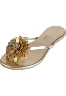 Rasteira Mercedita Shoes Verniz Dourado Com Flor - Dourado - Feminino - Dafiti