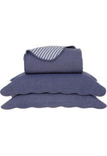 Conjunto De Colcha Boutis King Size- Azul Escuro & Brancbuddemeyer
