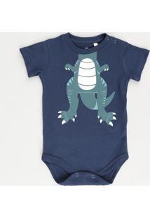Body Infantil Dinossauro Manga Curta Azul Marinho