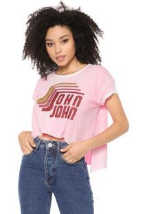 Camiseta Cropped John John Glitter Rosa