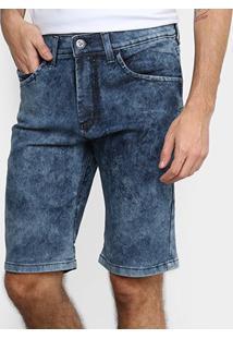 Bermuda Jeans Hd Estonado Masculina - Masculino-Azul+Preto