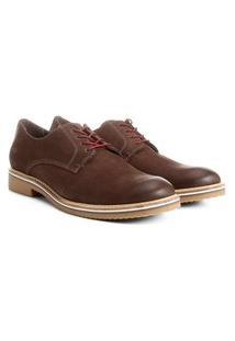 Sapato Derby Reserva Dudu® Em Couro. - Marrom Escuro & Bordô. - Reserva 40118Dudu