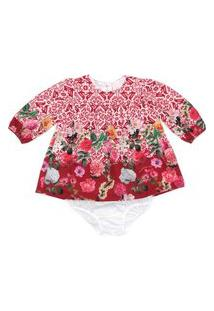 Vestido / Calcinha Infantil / Baby Em Crepe Com Lycra Estampado - Um Mais Um Vermelho