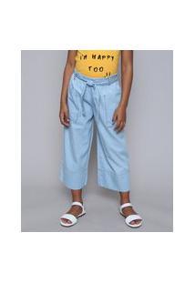 Calça Jeans Infantil Pantacourt Com Bolsos E Faixa Para Amarrar Azul Claro