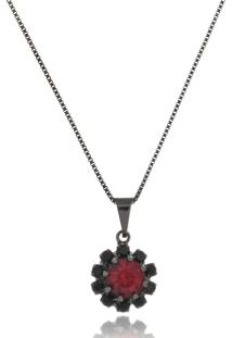 Colar Le Diamond Flor Vermelho Rubi - Kanui