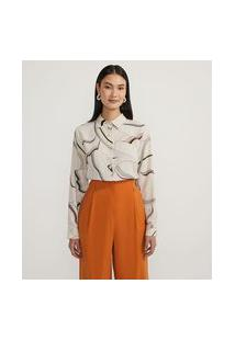 Camisa Manga Longa Estampada Com Amarração | Cortelle | Branco | P