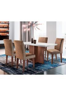 Conjunto De Mesa De Jantar Ane Com 4 Cadeiras Estofadas Grécia Ii Animalle Off White E Chocolate