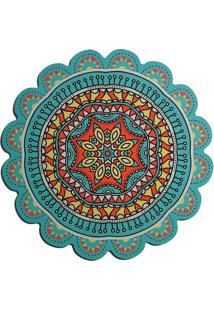 Sousplat Mandala- Verde ÁGua & Laranja- 0,3Xã˜38Cmbtc Decor