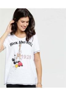 Camiseta Estampa Mickey Disney Manga Curta Feminina - Feminino-Branco