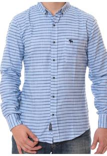 Camisa Abercrombie Masculina Striped Horizontally Blue