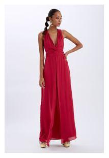 Vestido Decote V No Rosa Cherry