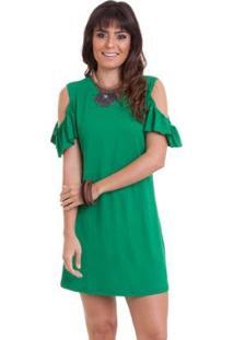 Vestido Manola Vazado Liso - Feminino-Verde