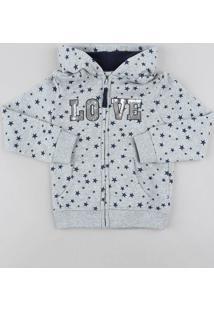 Blusão Infantil Estampado De Estrelas Com Capuz Em Moletom Cinza Mescla