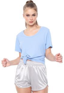 Camiseta Alto Giro Recorte Tule Azul