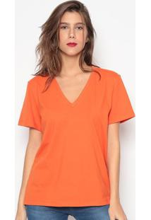 Camiseta Lisa Com Bordado- Laranja- Colccicolcci