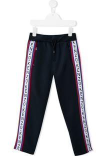 Kenzo Kids Logo Stripe Track Pants - Azul