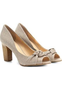 Peep Toe Shoestock Salto Grosso Nó - Feminino