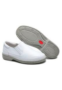 Sapato Masculino Branco Ortopédico Em Couro Cla Cle 1005