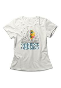 Camiseta Feminina Open Book Open Mind Off-White