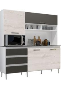 Cozinha Compacta 04 Portas Florença Branco/Aspen/Canela - Mpdecor