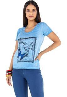 Camisetas Latifundio T-Shirt Feminina - Feminino-Azul