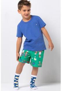 Conjunto Pijama Infantil Acuo De Malha Estampado Masculino - Masculino-Azul