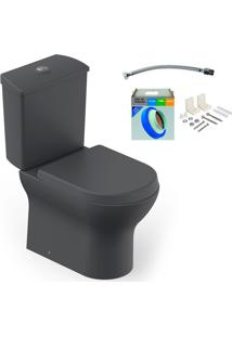 Kit Bacia Com Caixa Acoplada E Assento Nexo Grafito + Conjunto De Fixação Flexível E Anel De Vedação - Roca - Roca