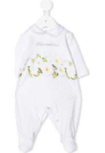 Monnalisa Body Com Estampa Floral E Bordado Floral - Branco