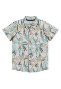 Camisa Alakazoo Folhas Urbanas Abertura Em Botoes - 33984