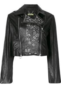 Versace Jeans Couture Jaqueta Biker Com Tachas - Preto