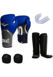 Kit Muay Thai Luva Everlast 12Oz Caneleira Bandagem Bucal - Unissex