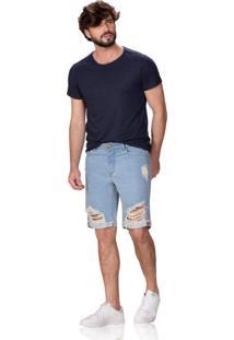 Bermuda Altoplano Destroyed Jeans Azul