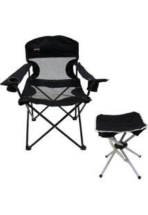 Cadeira Dobrável Fresno + Banqueta Dobrável Stool Para Camping Nautika - Unissex