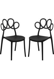 Kit 02 Cadeiras Decorativas Para Cozinha Laço Preto - Gran Belo