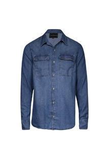 Camisa Masculina Jeans Bolsos Stone Claro St Cl+Usd