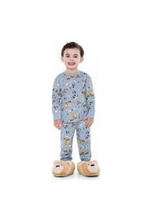 Conjunto Pijama Longo Menino Estampado 100% Algodão Fakini - Gray Nickel - 2