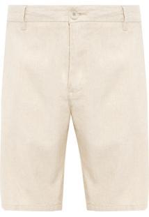 Bermuda Masculina Alfaiataria Basic Linen - Bege