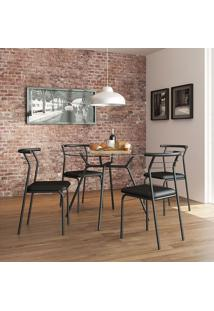 Conjunto Mesa 1527 Vidro Incolor Com 4 Cadeiras Color 1708 Preta Carraro