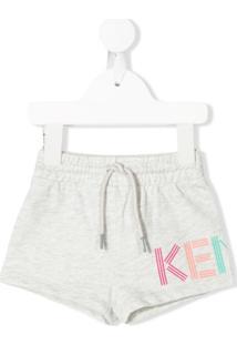 Kenzo Kids Bermuda Com Estampa De Logo - Cinza