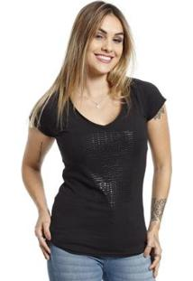 Camiseta Vlcs Gola V Feminina - Feminino-Preto