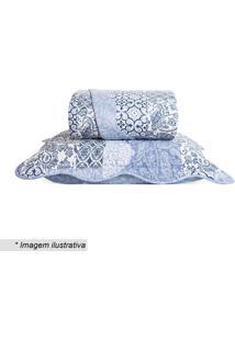 Conjunto De Colcha Boutis Solteiro- Azul & Branco- 2Santista